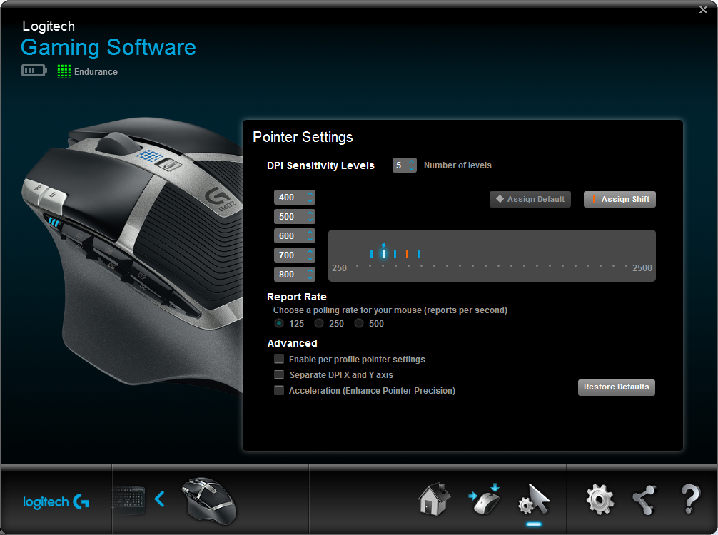Logitech Gaming Software G602 Auto Game Detect Endurance Mode Pointer Settings