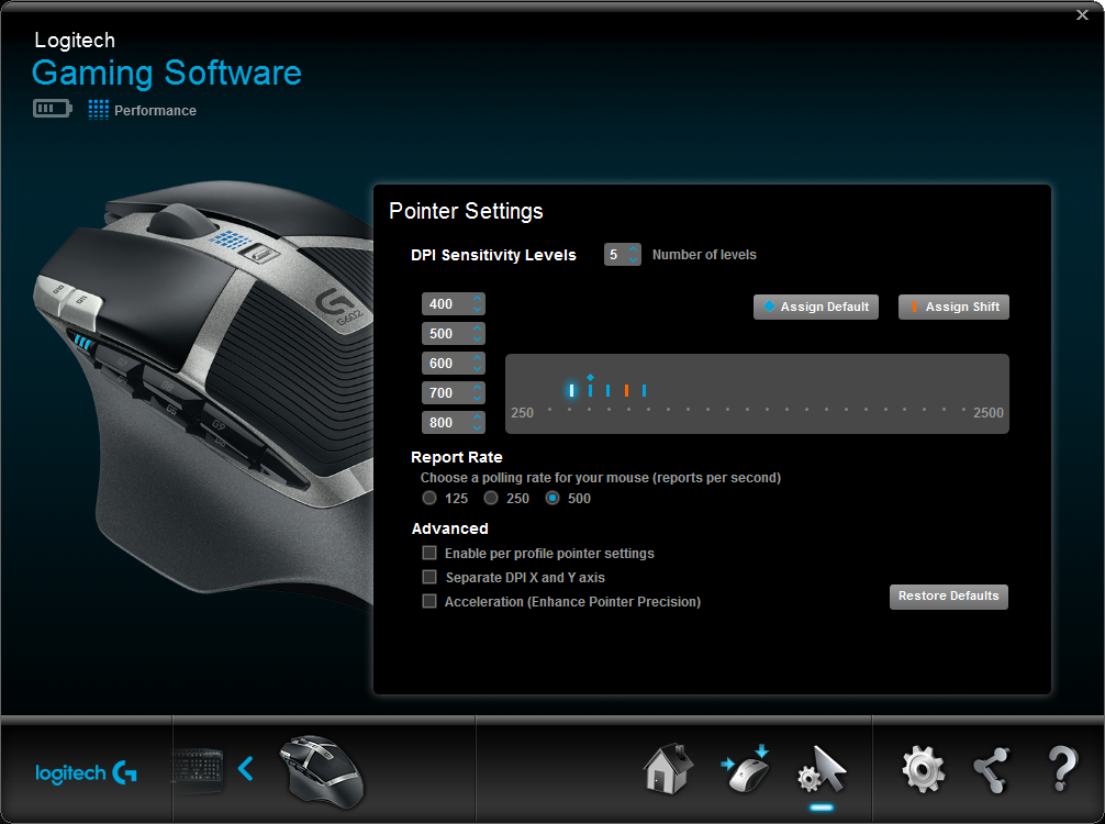 Logitech Gaming Software G602 Auto Game Detect Performance Mode Pointer Settings