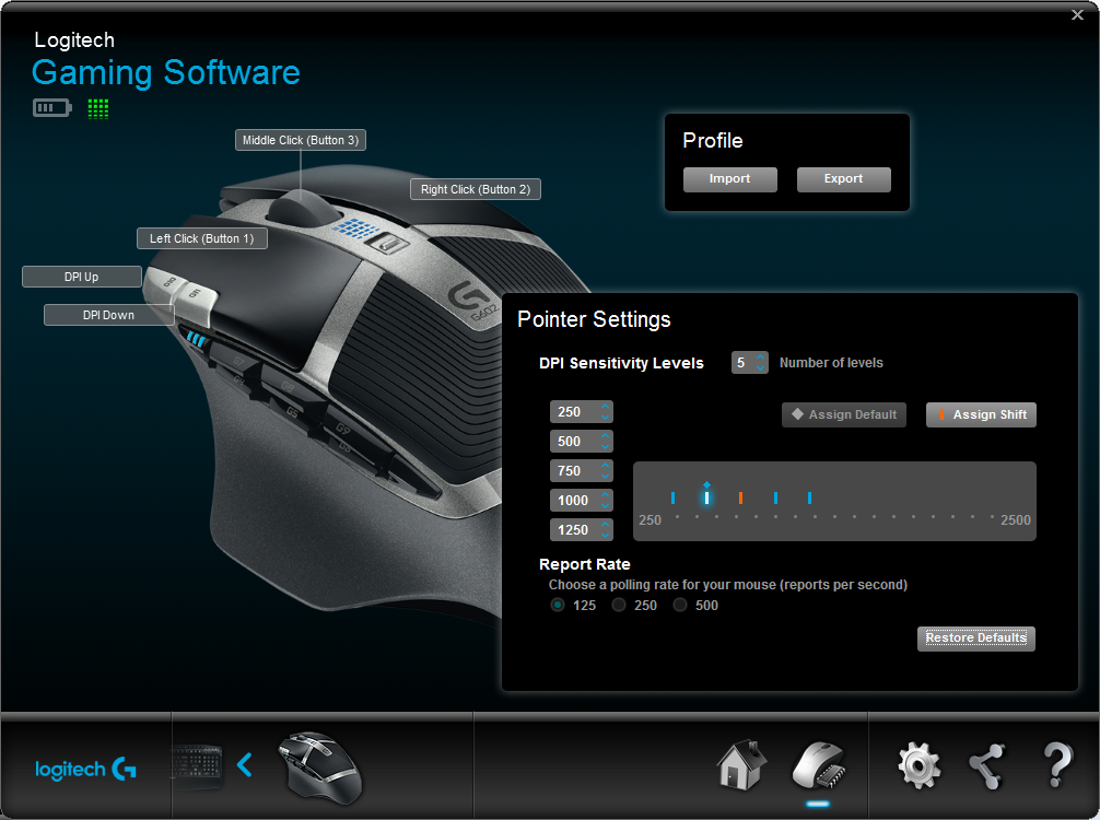 Logitech Gaming Software G602 Onboard Endurance Pointer Settings